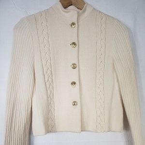 St.John Collection Beige/Cream Knit Jacket Sz Sm